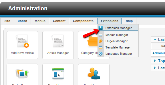 joomla exenstion manager